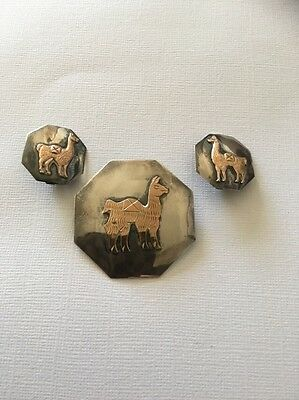 Cuzco Sterling Silver And 18 K  Llama Brooch And Earring Set