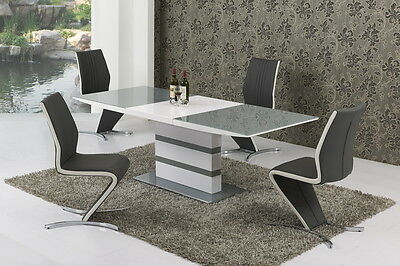 GA Artic GREY & WHITE Small or Large Extending Table & Izabella Chairs