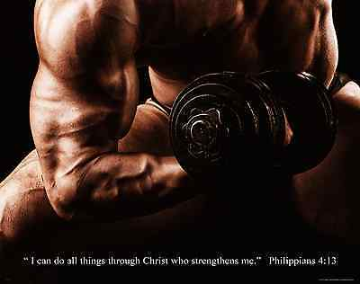 Workout Motivational Poster Art Print Weight Lifting Home Gym Philippians 4:13