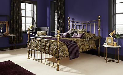 Florence Metal Bed Frame in Antique Brass or Silver Double, King or Super King
