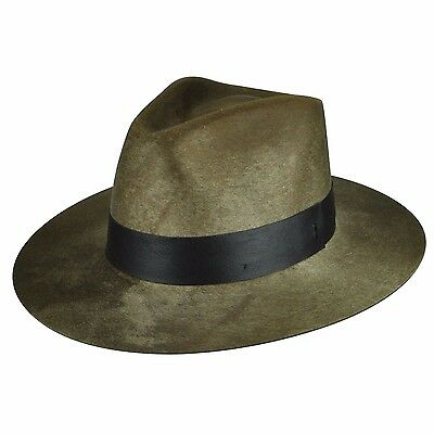 61738093754e7 Bailey Hillman Men s Wool Hondo Crown Polished Fedora Hat Beige Made In Usa