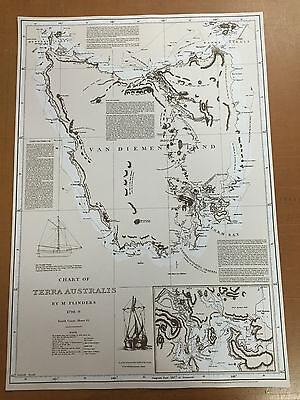 Chart Of Terra Australis By M Flinders 1798-99 Poster Prints Map Wall Decor