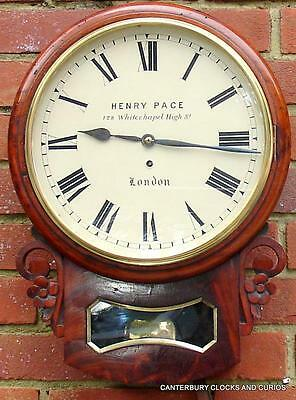 "PACE WHITECHAPEL ANTIQUE MAHOGANY 8 DAY FUSEE 12"" DROPDIAL CLOCK 1880c SERVICED"