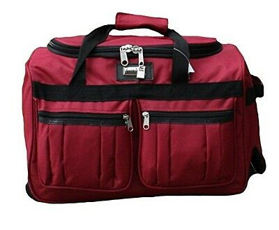 "19"" Heavy Duty Carry On Rolling Wheeled Duffel Bag Travel Duffle on Wheels Red"
