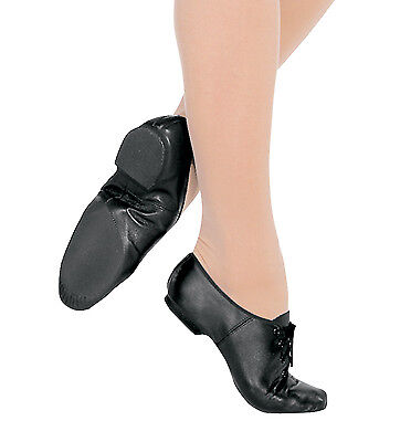 NEW black split sole leather JAZZ dance shoes Large child / ladies Size 5.5