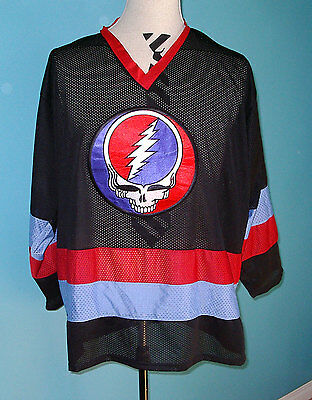 Grateful Dead Black Hockey Jersey Shirt One Size Steal Your Face vtg 1990's