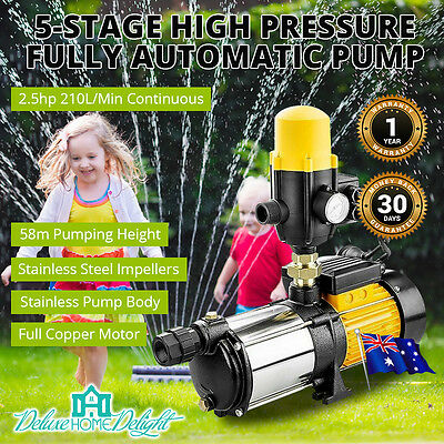 NEW 5 Stage High Pressure Water Pump Pool Garden Irrigate Tank Automatic 210 L/M