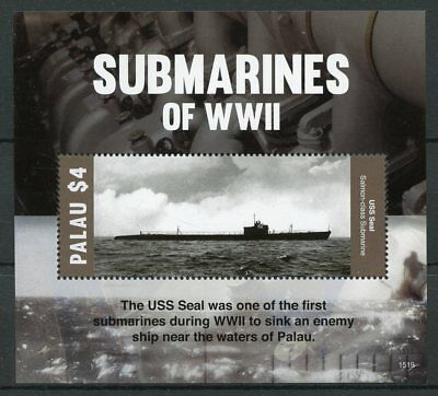 Palau 2015 MNH Submarines WWII USS Seal 1v S/S Second World War II Ships Stamps