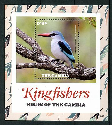 Gambia 2015 MNH Kingfishers Birds of Gambia 1v S/S Woodland Kingfisher Stamps
