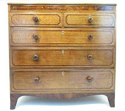 Excellent 19th C Antique Solid Oak and Mahogany Chest Of Drawers