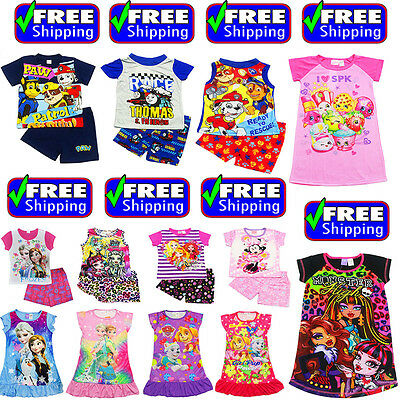 NEW Sz 1-12 KIDS SUMMER PYJAMAS BOYS OUTFITS TEE GIRLS SLEEPWEAR NIGHTIE TSHIRTS