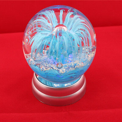 "2.15LB 3.65"" Blue Sea Flower Art Glass Ball noctilucence Paperweight With Base 2"