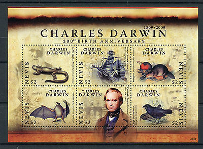 Nevis 2009 MNH Charles Darwin 200th 6v M/S Birds Lizards Bats Platypus Stamps