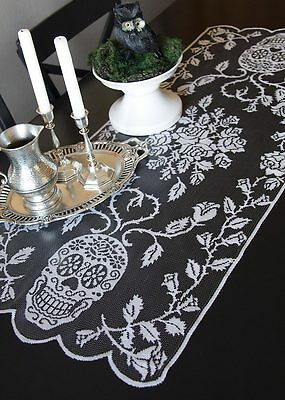 """SU-1844P USA Made Lace Sugar Skulls Day of the Dead 44"""" Halloween Table Runner"""