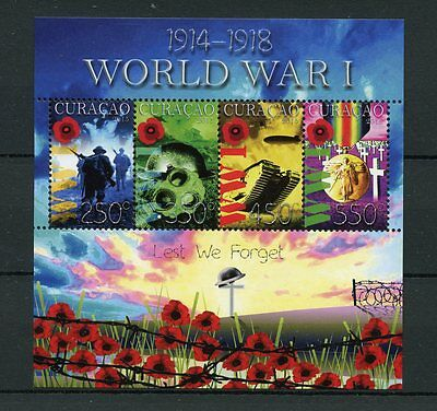 Curacao 2015 MNH WWI First World War I Lest We Forget 4v MS Poppies Tanks Stamps
