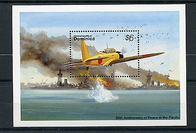 Dominica 1995 MNH WWII VJ Day 50th Peace Pacific 1v S/S Fighter Planes Stamps