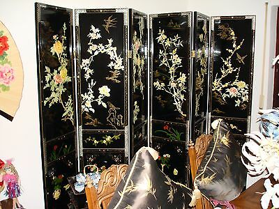 """Oriental Mother of Pearl Inlay 6 Panel Room Divider 6'6"""" tall 9' wide"""