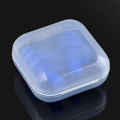 2 Pairs+2 Boxes Blue Silicone Ear Plugs Anti Noise Hearing Protection Earplugs