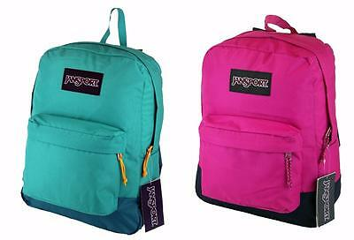 JanSport Black Label Superbreak Backpack 100% Authentic- Cyber Pink Spanish Teal