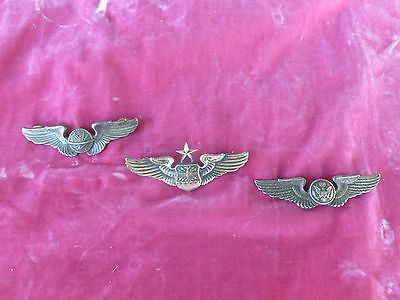 3 Vintage United States Air Force Wing Pins, 2 Sterling