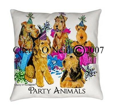 Airedale Terrier Party Animals Everyday Pillow Birthdays and Celebrations