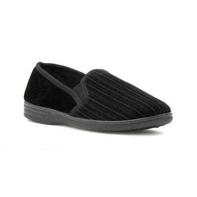 The Slipper Company Mens Striped Black Slipper - Sizes 6,7,8,9,10,11,12