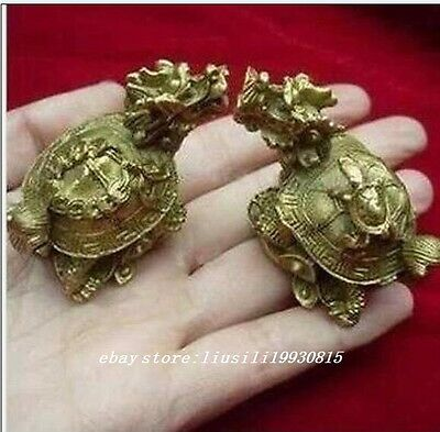 Traditional double carved exquisite old copper dragon turtle statue NR