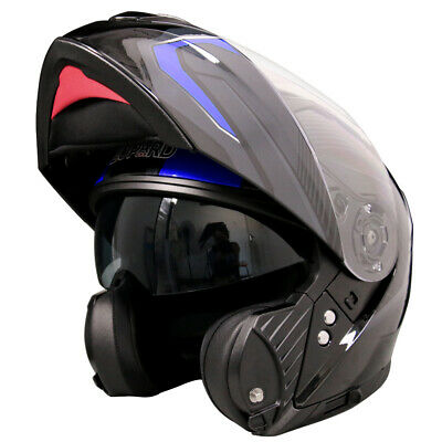 LEOPARD LEO-888 Modular Flip Up DVS Motorbike Motorcycle Helmet Crash Blue Black