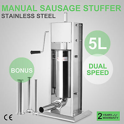 5L Dual Speed Stainless Steel Commercial Sausage Filler Meat Stuffer 15lbs New