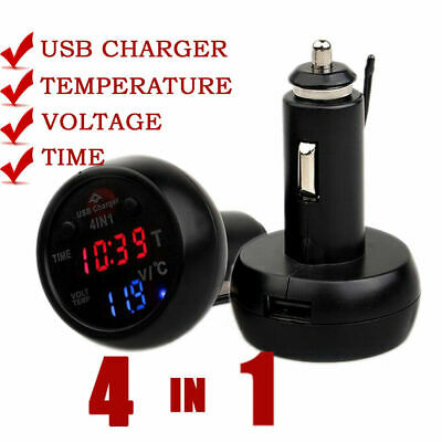 3 in 1 Car Cigarette Lighter Type Car Electronic Clock Thermometer Voltage Meter