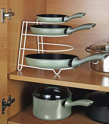 Kitchen Rack Frying Pan Pot Stand Holder Space Saver Plates Organizer Rack Stand