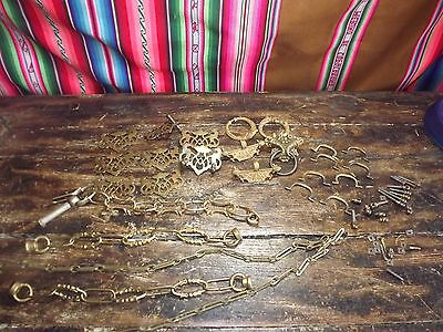 Antique Brass Fittings And Chains 8 Drawplates And Handels Other Bits See Photo