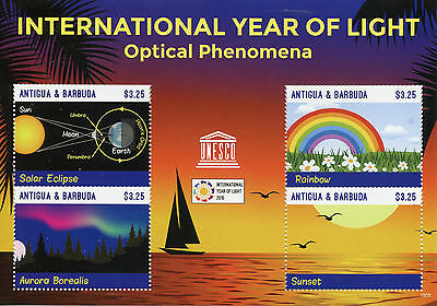 Antigua & Barbuda 2015 MNH UNESCO Int Year of Light 4v M/S Eclipse Aurora Stamps