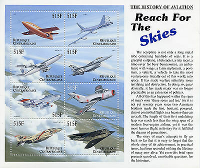Central African Republic 2000 MNH Aviation 8v M/S II Boeing F-16 Stealth Stamps