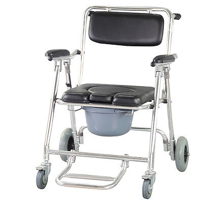 Professional Commode Wheelchair Bedside Toilet & Shower Chair Bathroom Chair US
