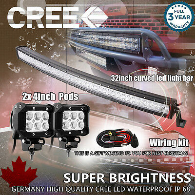 "32 inch Curved LED Light Bar + 2× 4"" CREE LED Pods Ford Jeep Truck Offroad SUV 3"