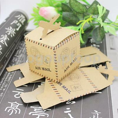 50x Vintage Postmark Kraft Sweets Gift Boxes Candy Box Party Wedding Decor