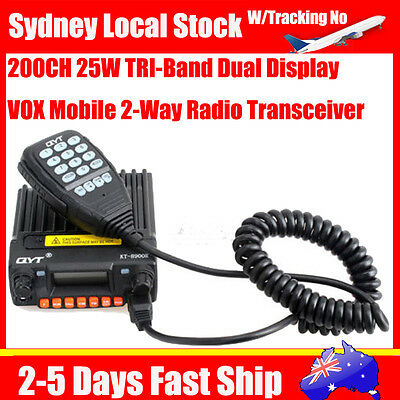 QYT KT-8900R TRI-Band VHF/UHF 25W 200CH FM Car Mobile Transceiver 2 Ways Radio