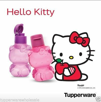New Tupperware Hello Kitty Bottle Set with Flip Top Cap Pink Purple Free Ship