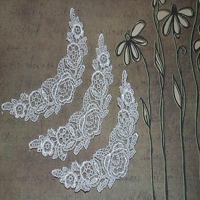 ~Beautiful Pure White Floral Venise Lace Applique  Sewing Embellishments Craft