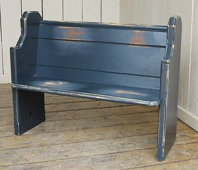 Old Antique Painted Church Pitch Pine Pew - Vintage Wooden Bench Settle Seating
