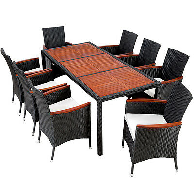 Ensemble Salon de jardin en résine tressée poly rotin table set 8+1 noir/marron
