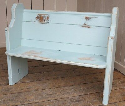 Painted Old Church Pew - Antique Wooden Bench Settle Seating - Pitch Pine Seat