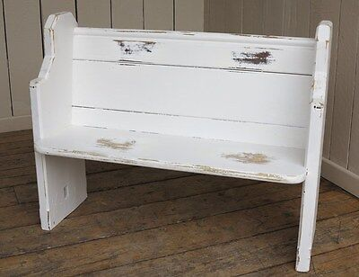 Vintage Church Pew - Antique Painted Bench Settle Seating - Pitch Pine Seat