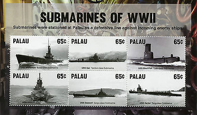 Palau 2015 MNH Submarines of WWII 6v M/S Second World War Two Ships Stamps