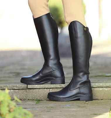 Shires Stanton Long Synthetic Leather Riding Boots - Black - Sizes 4 - 8