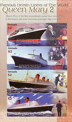 Grenada 2004 MNH Famous Ocean Liners of World 4v M/S Queen Mary 2 Ships Stamps