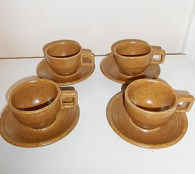 8 Pcs Monmouth Pottery Stoneware Maple Leaf USA Cups And Saucers Brown Speckled