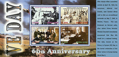 Sierra Leone 2005 MNH WWII VE Day 60th End World War II 4v M/S Churchill Stamps