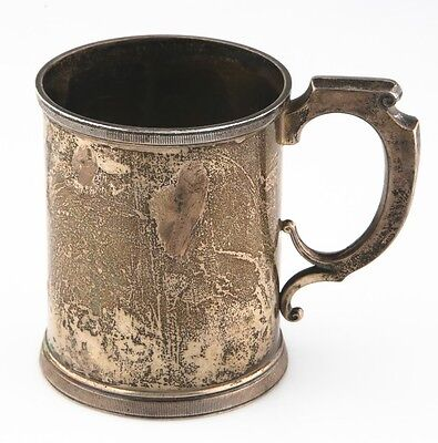 Antique Sterling Silver Wood & Hughes Christening Cup Engraved, Nice Patina